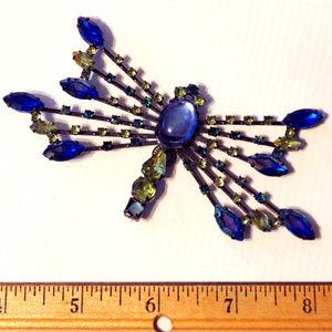 huge vintage rhinestone dragonfly brooch pin
